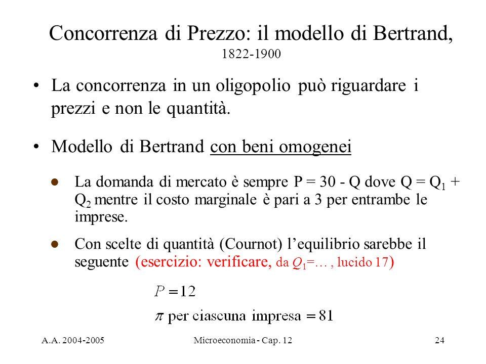 A.A. 2004-2005Microeconomia - Cap. 1224 Concorrenza di Prezzo: il modello di Bertrand, 1822-1900 La concorrenza in un oligopolio può riguardare i prez