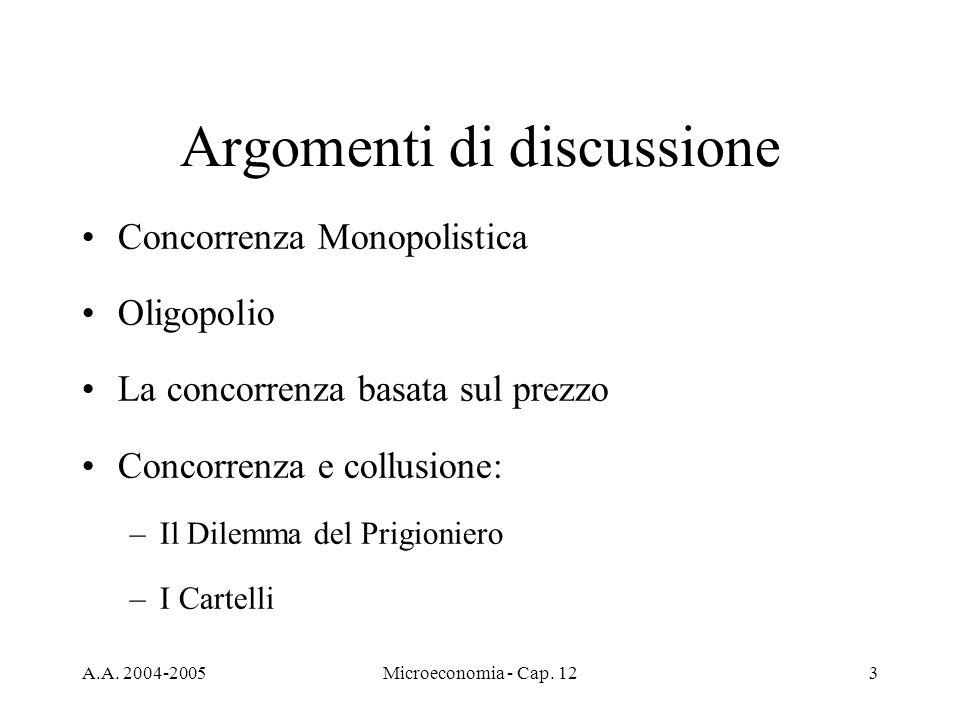 A.A. 2004-2005Microeconomia - Cap. 123 Argomenti di discussione Concorrenza Monopolistica Oligopolio La concorrenza basata sul prezzo Concorrenza e co