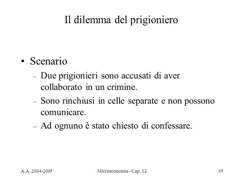 A.A. 2004-2005Microeconomia - Cap. 1235 Scenario – Due prigionieri sono accusati di aver collaborato in un crimine. – Sono rinchiusi in celle separate