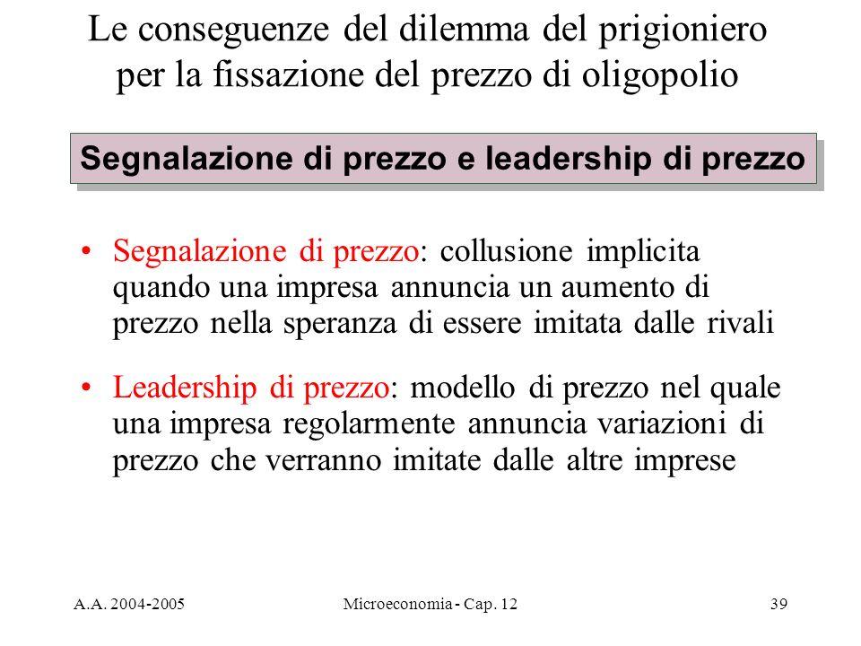 A.A. 2004-2005Microeconomia - Cap. 1239 Le conseguenze del dilemma del prigioniero per la fissazione del prezzo di oligopolio Segnalazione di prezzo: