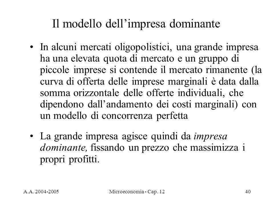 A.A. 2004-2005Microeconomia - Cap. 1240 Il modello dellimpresa dominante In alcuni mercati oligopolistici, una grande impresa ha una elevata quota di