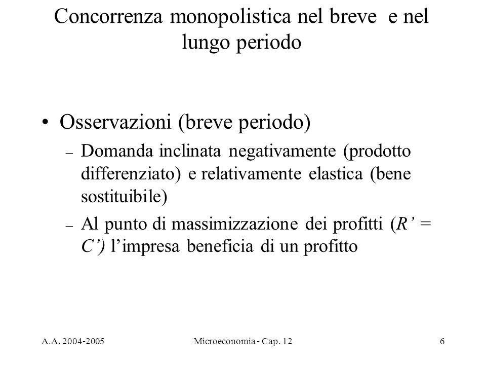 A.A. 2004-2005Microeconomia - Cap. 126 Osservazioni (breve periodo) – Domanda inclinata negativamente (prodotto differenziato) e relativamente elastic