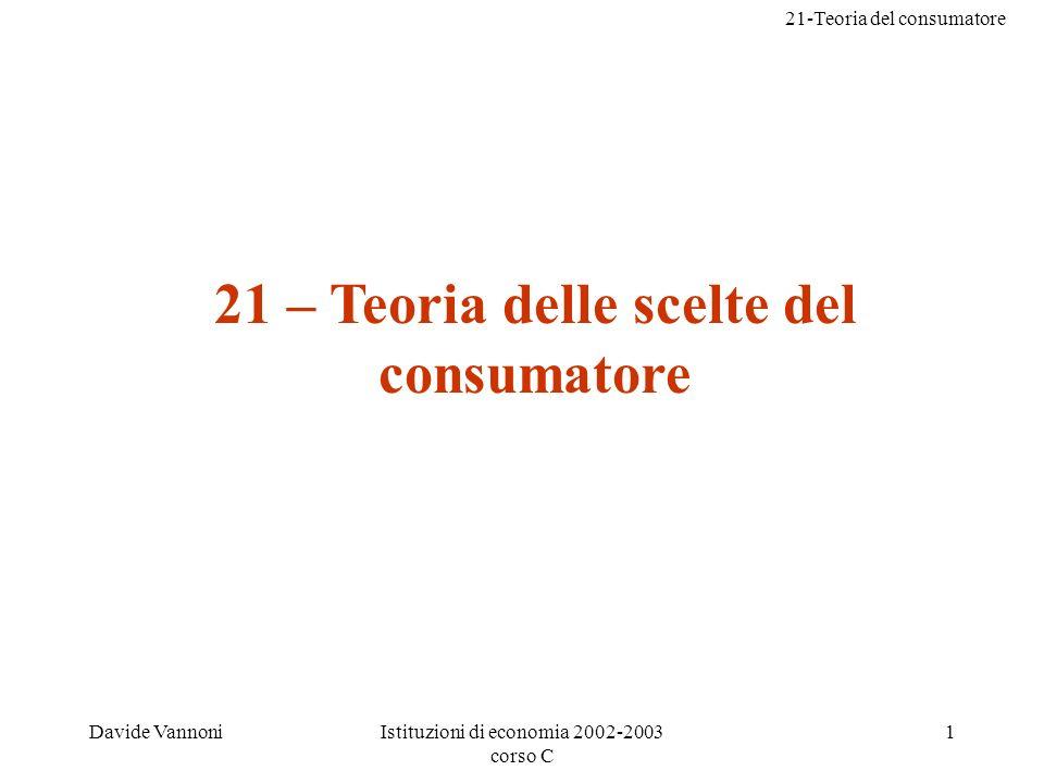 21-Teoria del consumatore Davide VannoniIstituzioni di economia 2002-2003 corso C 1 21 – Teoria delle scelte del consumatore