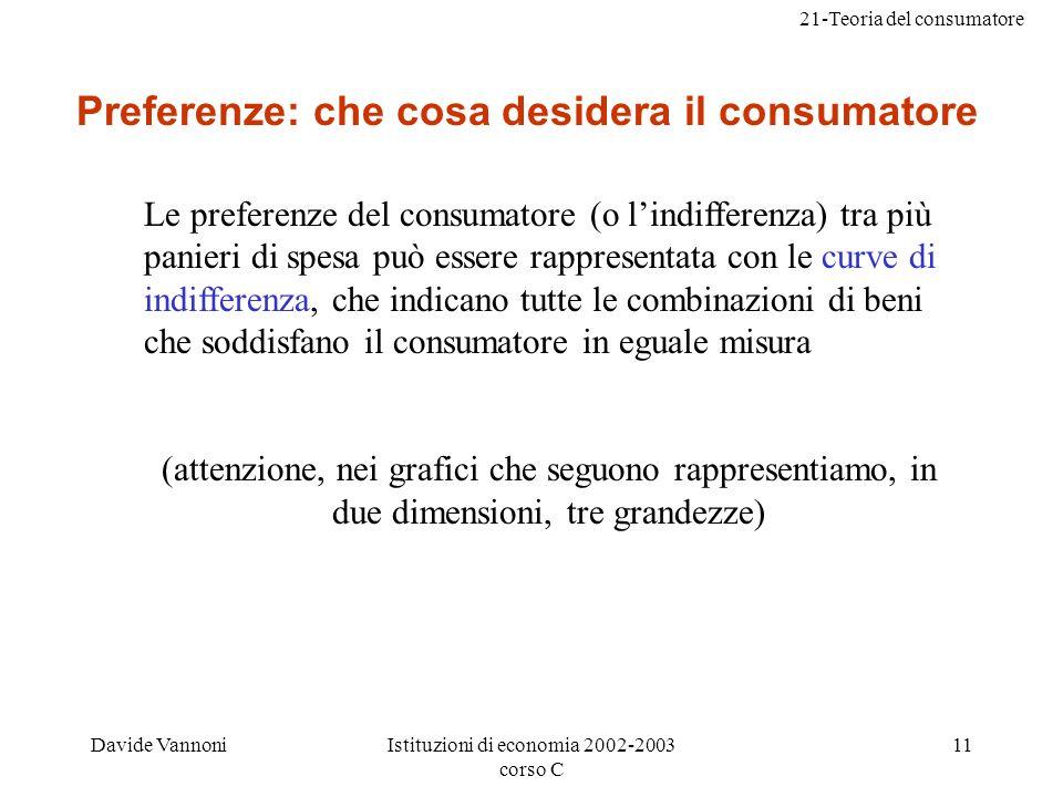 21-Teoria del consumatore Davide VannoniIstituzioni di economia 2002-2003 corso C 11 Preferenze: che cosa desidera il consumatore Le preferenze del consumatore (o lindifferenza) tra più panieri di spesa può essere rappresentata con le curve di indifferenza, che indicano tutte le combinazioni di beni che soddisfano il consumatore in eguale misura (attenzione, nei grafici che seguono rappresentiamo, in due dimensioni, tre grandezze)