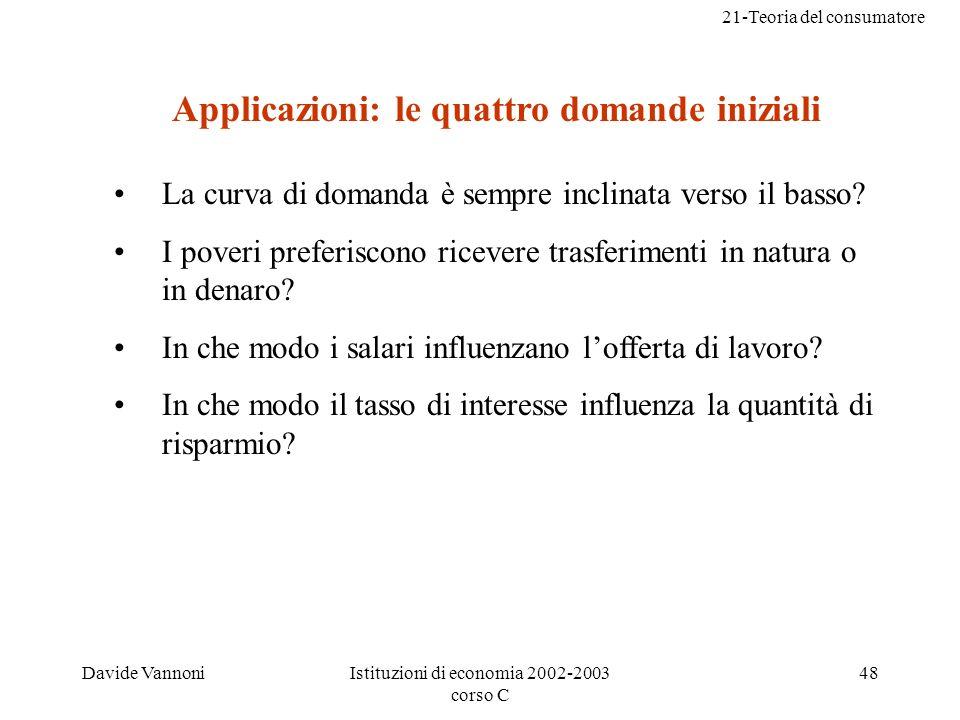 21-Teoria del consumatore Davide VannoniIstituzioni di economia 2002-2003 corso C 48 Applicazioni: le quattro domande iniziali La curva di domanda è sempre inclinata verso il basso.