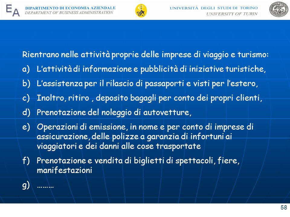 58 Rientrano nelle attività proprie delle imprese di viaggio e turismo: a)Lattività di informazione e pubblicità di iniziative turistiche, b)Lassisten