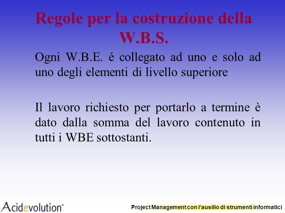 Project Management con lausilio di strumenti informatici Regole per la costruzione della W.B.S. Ogni W.B.E. (Work Breakdown Element) rappresenta unatt