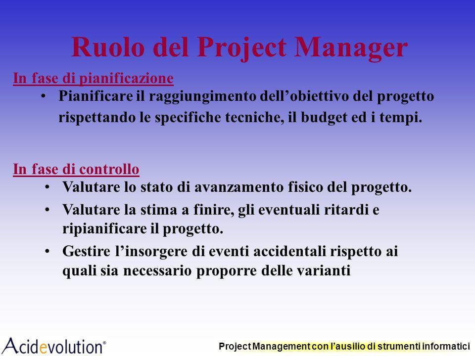 Project Management con lausilio di strumenti informatici I vantaggi della gestione per progetti Pianificare il raggiungimento di obiettivi anche molto