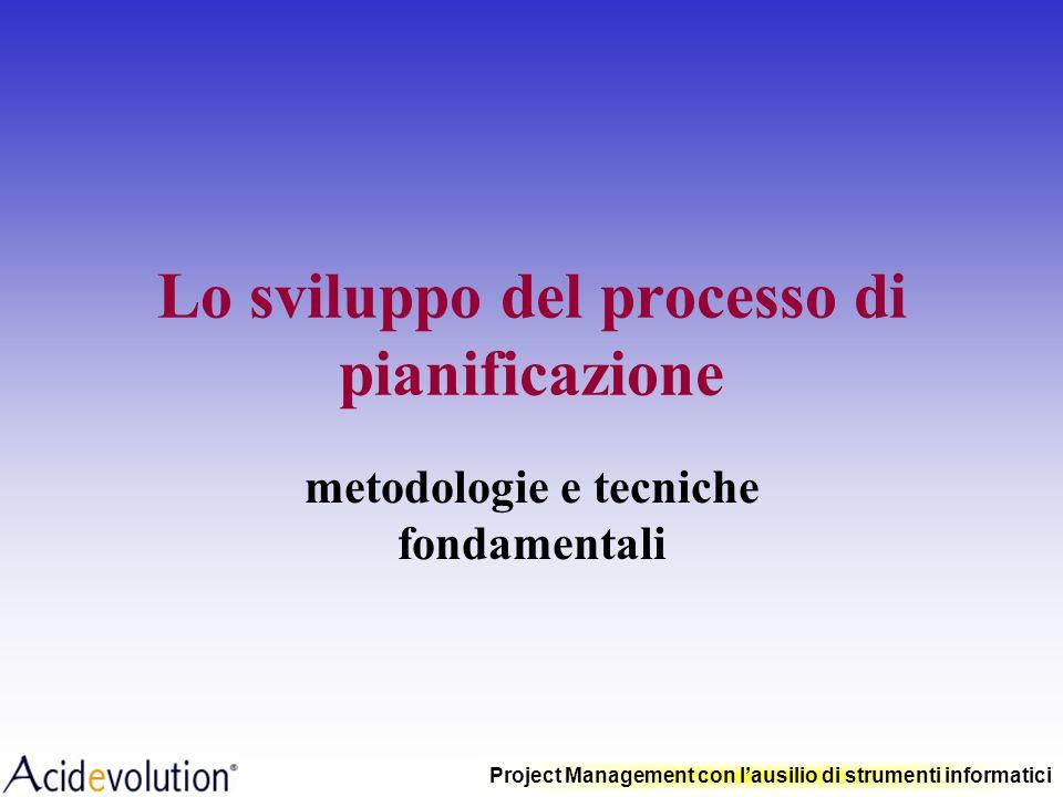 Project Management con lausilio di strumenti informatici Ruolo del Project Manager Pianificare il raggiungimento dellobiettivo del progetto rispettand