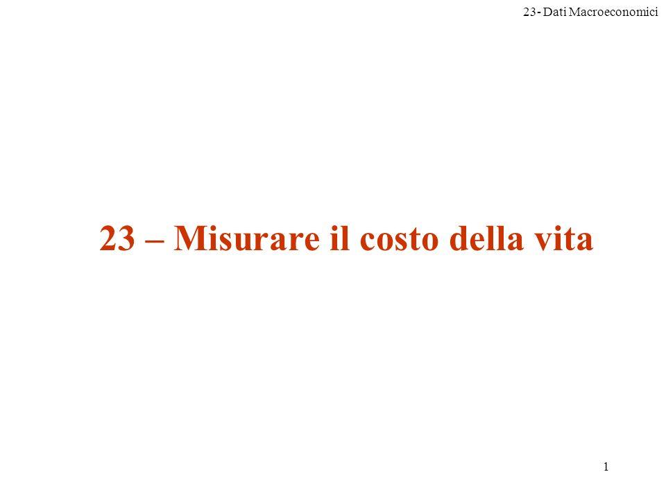 23- Dati Macroeconomici 1 23 – Misurare il costo della vita