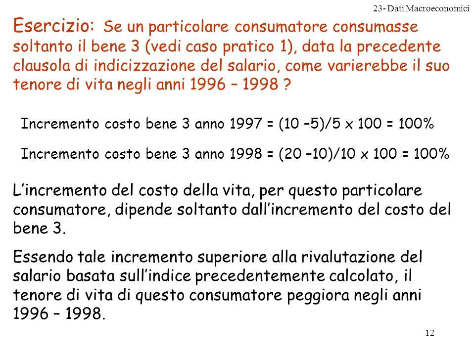 23- Dati Macroeconomici 12 Esercizio: Se un particolare consumatore consumasse soltanto il bene 3 (vedi caso pratico 1), data la precedente clausola di indicizzazione del salario, come varierebbe il suo tenore di vita negli anni 1996 – 1998 .