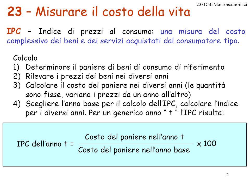 23- Dati Macroeconomici 2 23 – Misurare il costo della vita IPC – Indice di prezzi al consumo: una misura del costo complessivo dei beni e dei servizi acquistati dal consumatore tipo.