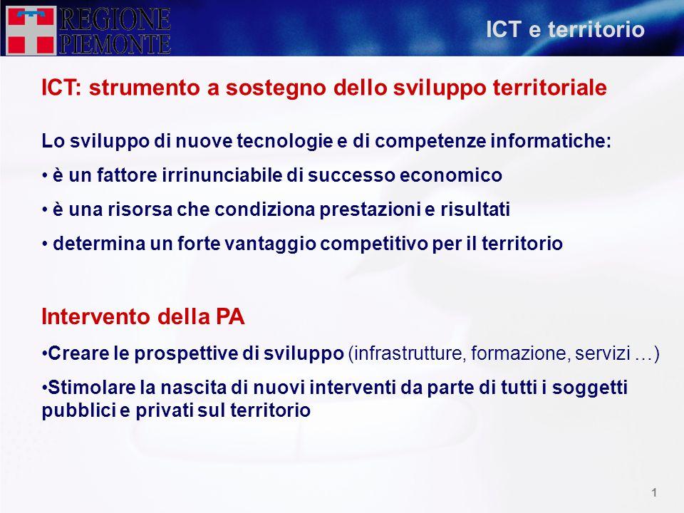 0 Le infrastrutture di rete in Piemonte Sergio Crescimanno Direzione Organizzazione; Pianificazione, Sviluppo e Gestione delle Risorse Umane
