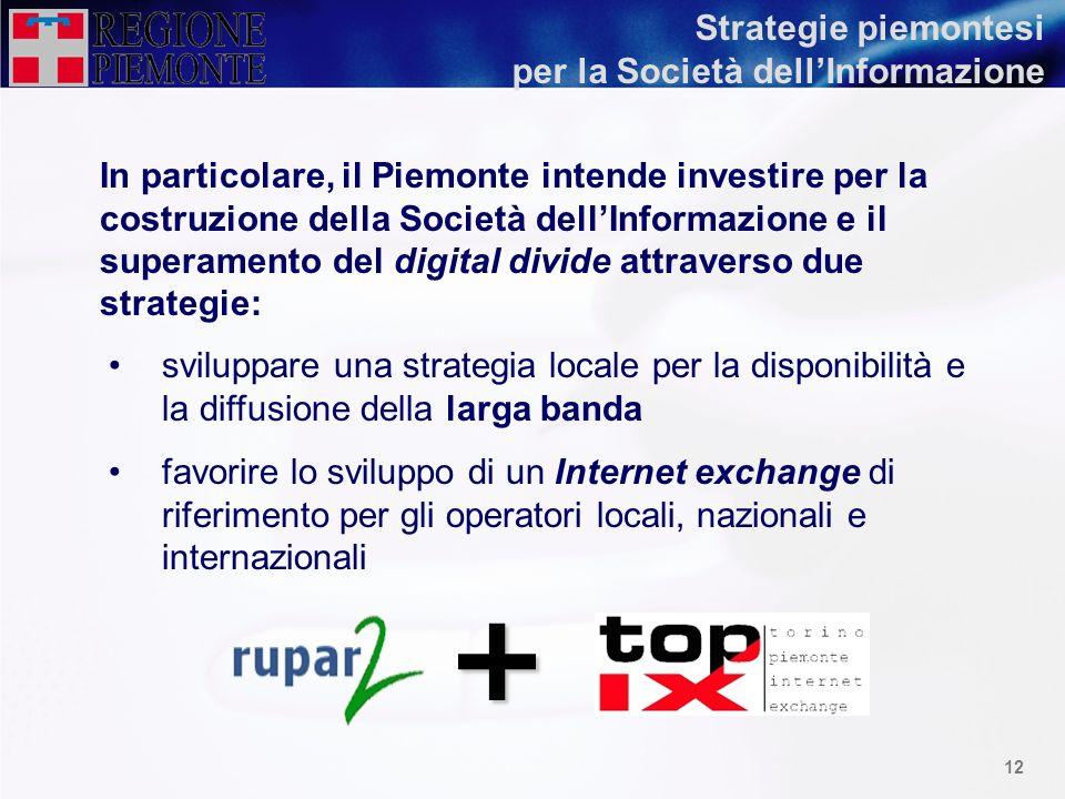 11 Il Piemonte, in coerenza con gli obiettivi eEurope, intende predisporre uninfrastruttura di base a larga banda per stimolare lo sviluppo sociale ed