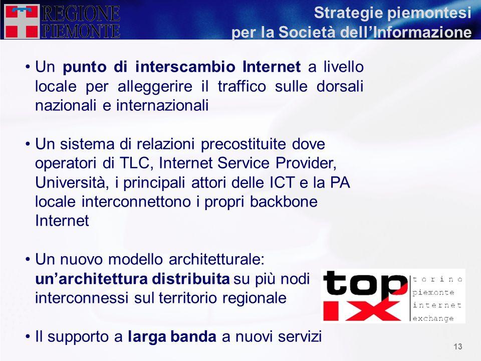 12 In particolare, il Piemonte intende investire per la costruzione della Società dellInformazione e il superamento del digital divide attraverso due