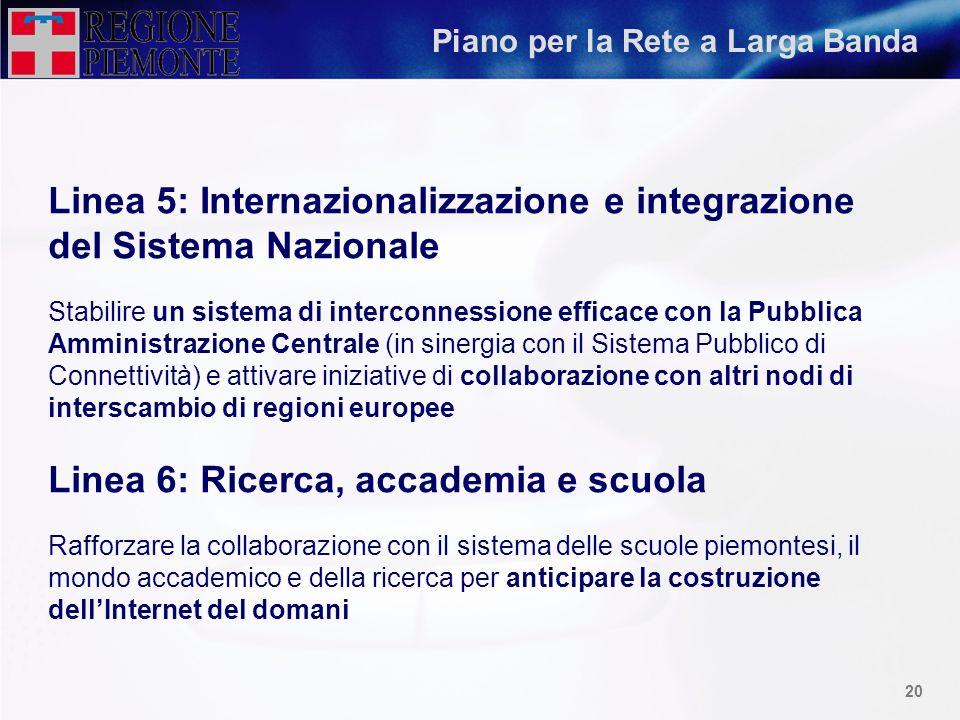 19 Piano per la Rete a Larga Banda Linea 3: Favorire laccesso al sistema Facilitare, anche con azioni culturali, il processo di connessione permanente