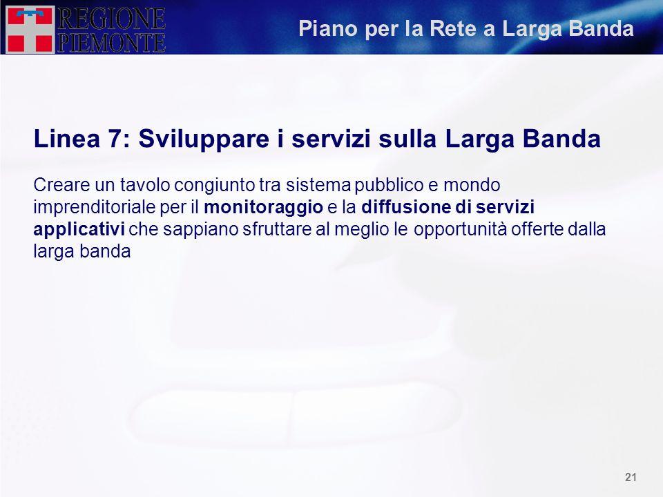 20 Piano per la Rete a Larga Banda Linea 5: Internazionalizzazione e integrazione del Sistema Nazionale Stabilire un sistema di interconnessione effic