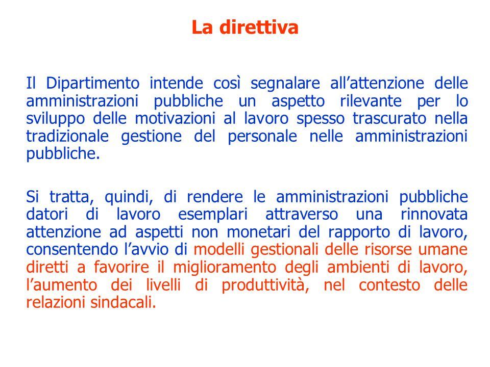 La direttiva Il Dipartimento intende così segnalare allattenzione delle amministrazioni pubbliche un aspetto rilevante per lo sviluppo delle motivazio