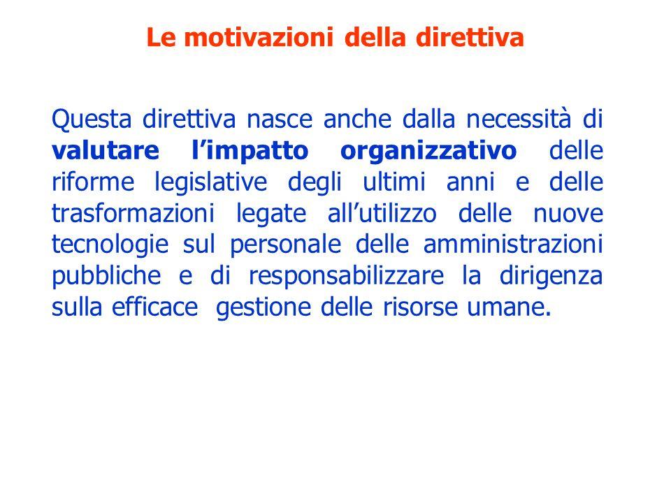 Le motivazioni della direttiva Questa direttiva nasce anche dalla necessità di valutare limpatto organizzativo delle riforme legislative degli ultimi