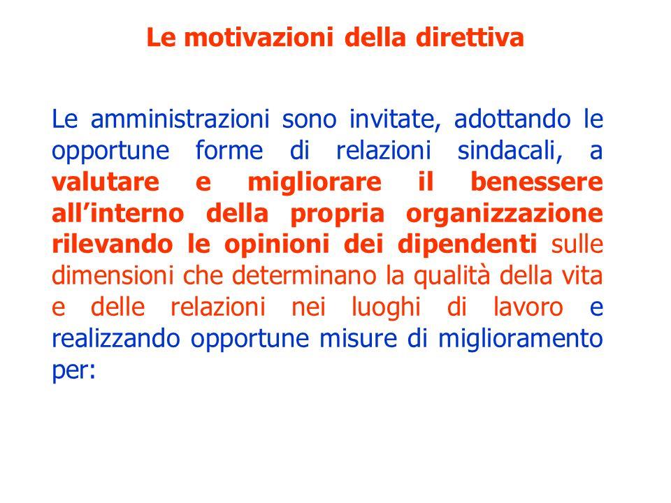 Le motivazioni della direttiva Le amministrazioni sono invitate, adottando le opportune forme di relazioni sindacali, a valutare e migliorare il benes