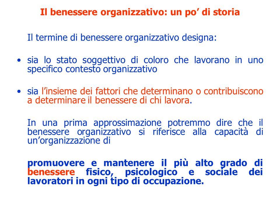 Il termine di benessere organizzativo designa: sia lo stato soggettivo di coloro che lavorano in uno specifico contesto organizzativo sia linsieme dei
