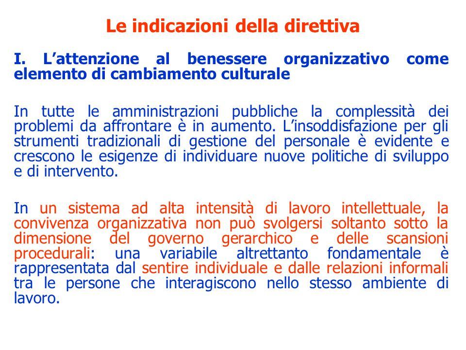 Le indicazioni della direttiva I. Lattenzione al benessere organizzativo come elemento di cambiamento culturale In tutte le amministrazioni pubbliche