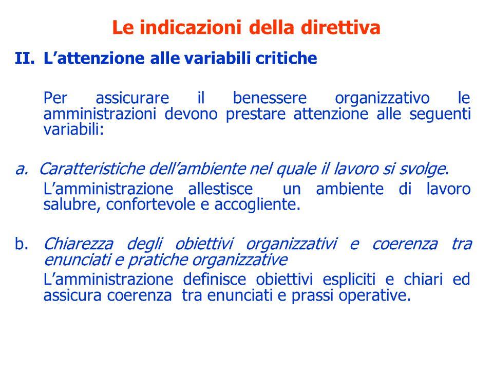 Le indicazioni della direttiva II.Lattenzione alle variabili critiche Per assicurare il benessere organizzativo le amministrazioni devono prestare att