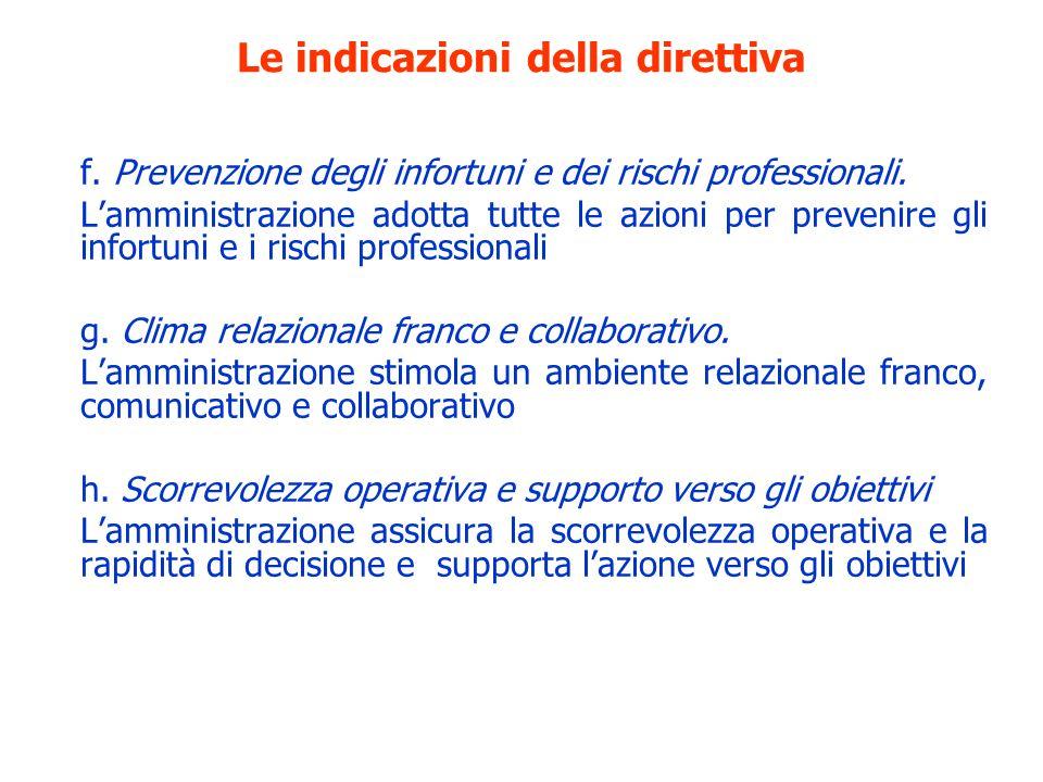 Le indicazioni della direttiva f. Prevenzione degli infortuni e dei rischi professionali. Lamministrazione adotta tutte le azioni per prevenire gli in