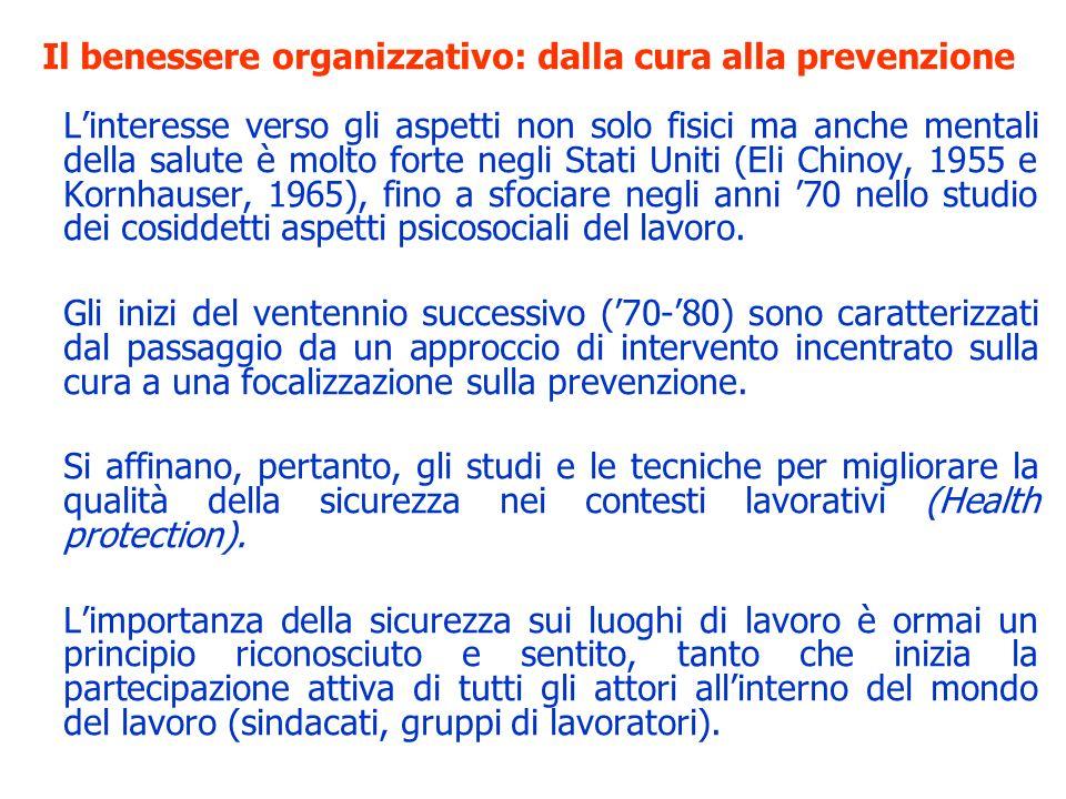 Il benessere organizzativo: un po di storia La novità principale è lo spostamento dellinteresse dalla prevenzione degli infortuni e delle malattie alla conservazione attiva della salute.