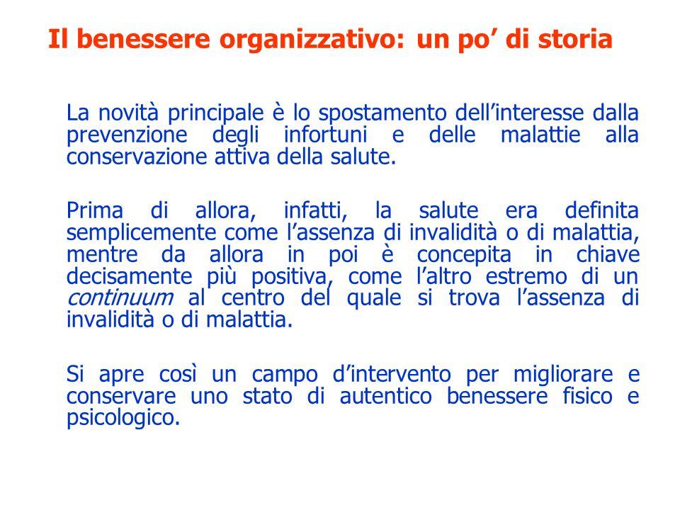 Il benessere organizzativo: un po di storia La novità principale è lo spostamento dellinteresse dalla prevenzione degli infortuni e delle malattie all