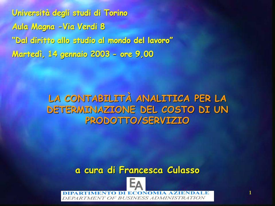 1 LA CONTABILITÀ ANALITICA PER LA DETERMINAZIONE DEL COSTO DI UN PRODOTTO/SERVIZIO a cura di Francesca Culasso Università degli studi di Torino Aula M