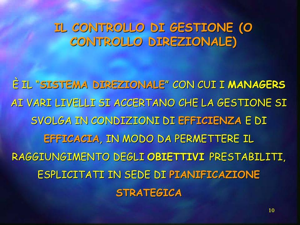 10 IL CONTROLLO DI GESTIONE (O CONTROLLO DIREZIONALE) È IL SISTEMA DIREZIONALE CON CUI I MANAGERS AI VARI LIVELLI SI ACCERTANO CHE LA GESTIONE SI SVOL