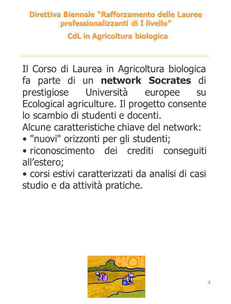 4 Direttiva Biennale Rafforzamento delle Lauree professionalizzanti di I livello CdL in Agricoltura biologica CdL in Agricoltura biologica Il Corso di