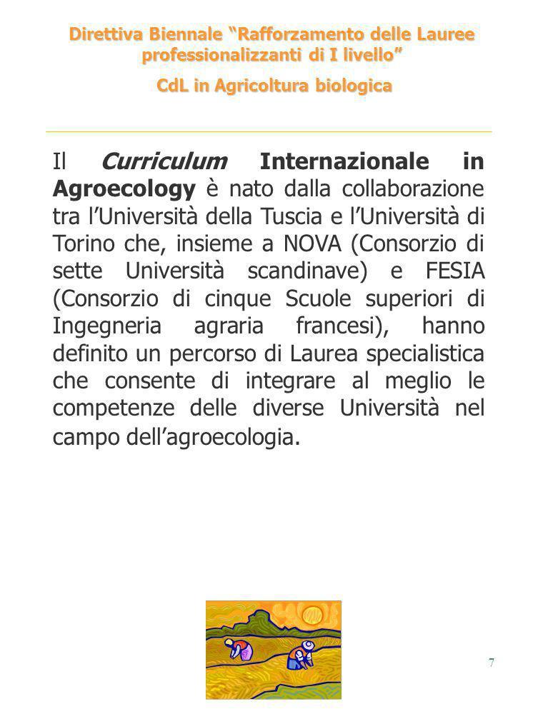 7 Direttiva Biennale Rafforzamento delle Lauree professionalizzanti di I livello CdL in Agricoltura biologica CdL in Agricoltura biologica Il Curricul