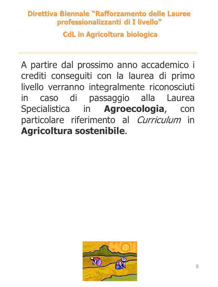 8 Direttiva Biennale Rafforzamento delle Lauree professionalizzanti di I livello CdL in Agricoltura biologica CdL in Agricoltura biologica A partire d