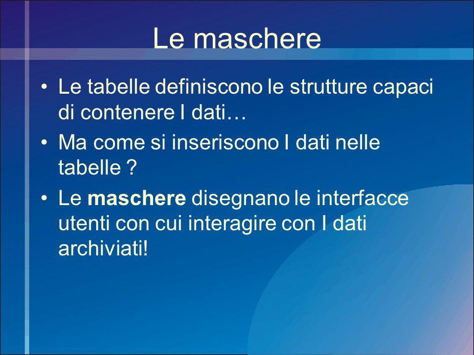 Le maschere Le tabelle definiscono le strutture capaci di contenere I dati… Ma come si inseriscono I dati nelle tabelle ? Le maschere disegnano le int