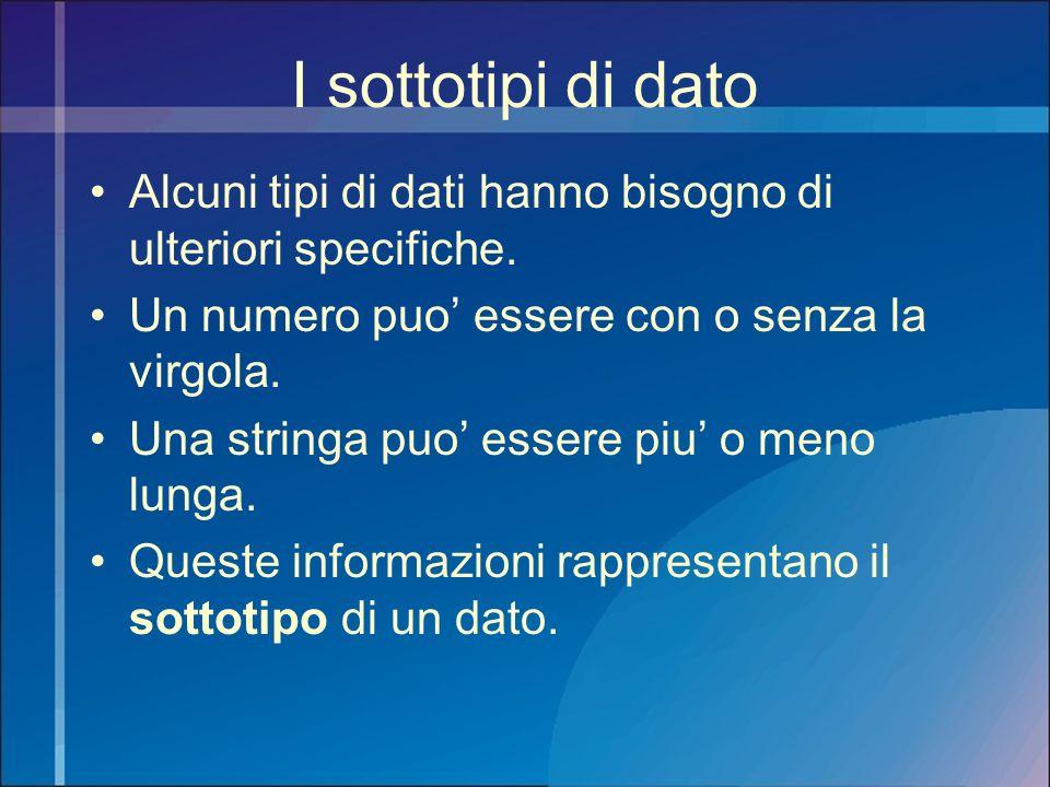 I sottotipi di dato Alcuni tipi di dati hanno bisogno di ulteriori specifiche. Un numero puo essere con o senza la virgola. Una stringa puo essere piu