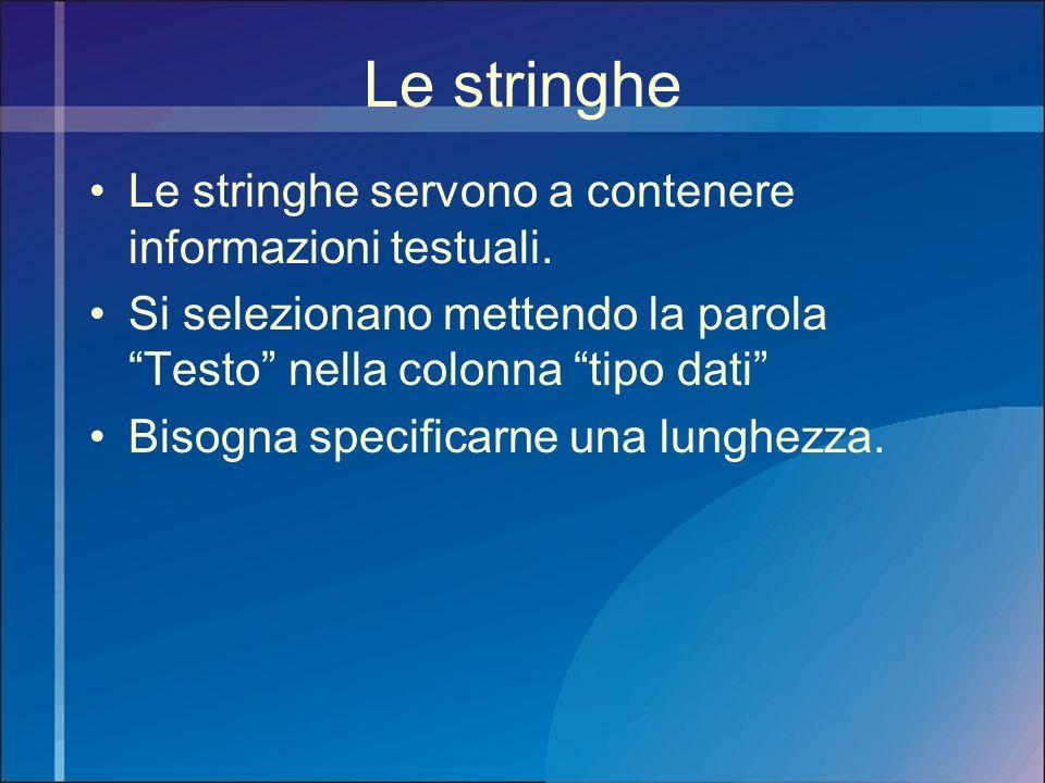 Le stringhe Le stringhe servono a contenere informazioni testuali. Si selezionano mettendo la parola Testo nella colonna tipo dati Bisogna specificarn