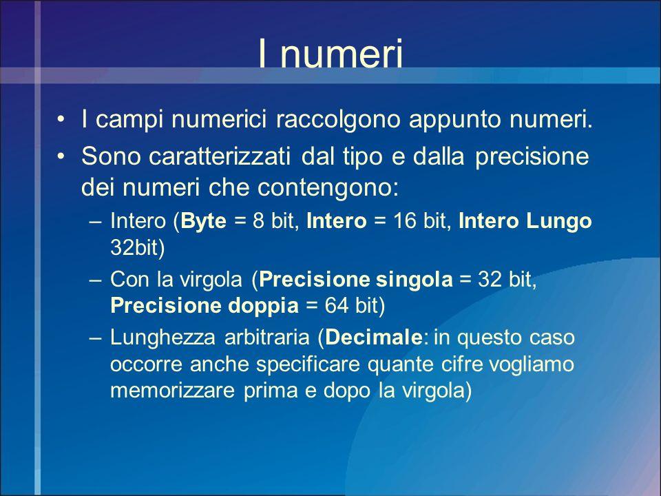 I numeri I campi numerici raccolgono appunto numeri. Sono caratterizzati dal tipo e dalla precisione dei numeri che contengono: –Intero (Byte = 8 bit,