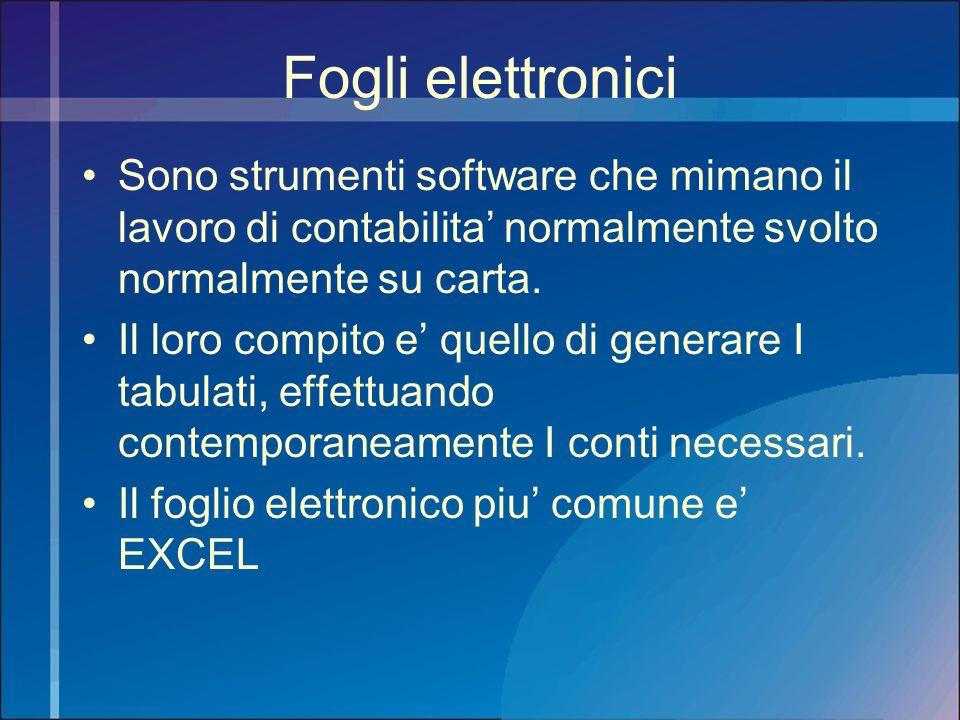 Fogli elettronici Sono strumenti software che mimano il lavoro di contabilita normalmente svolto normalmente su carta. Il loro compito e quello di gen