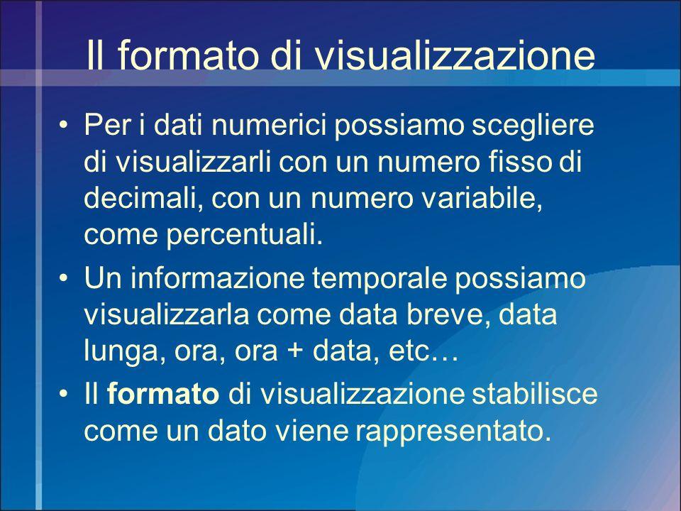 Il formato di visualizzazione Per i dati numerici possiamo scegliere di visualizzarli con un numero fisso di decimali, con un numero variabile, come p