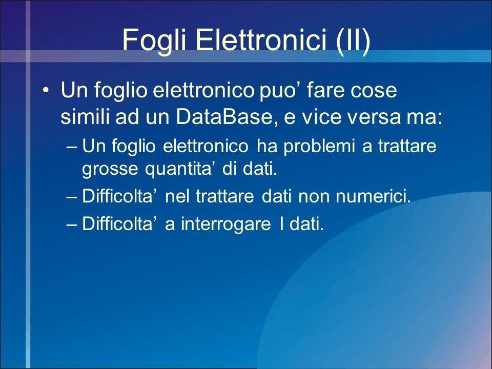 Fogli Elettronici (II) Un foglio elettronico puo fare cose simili ad un DataBase, e vice versa ma: –Un foglio elettronico ha problemi a trattare gross
