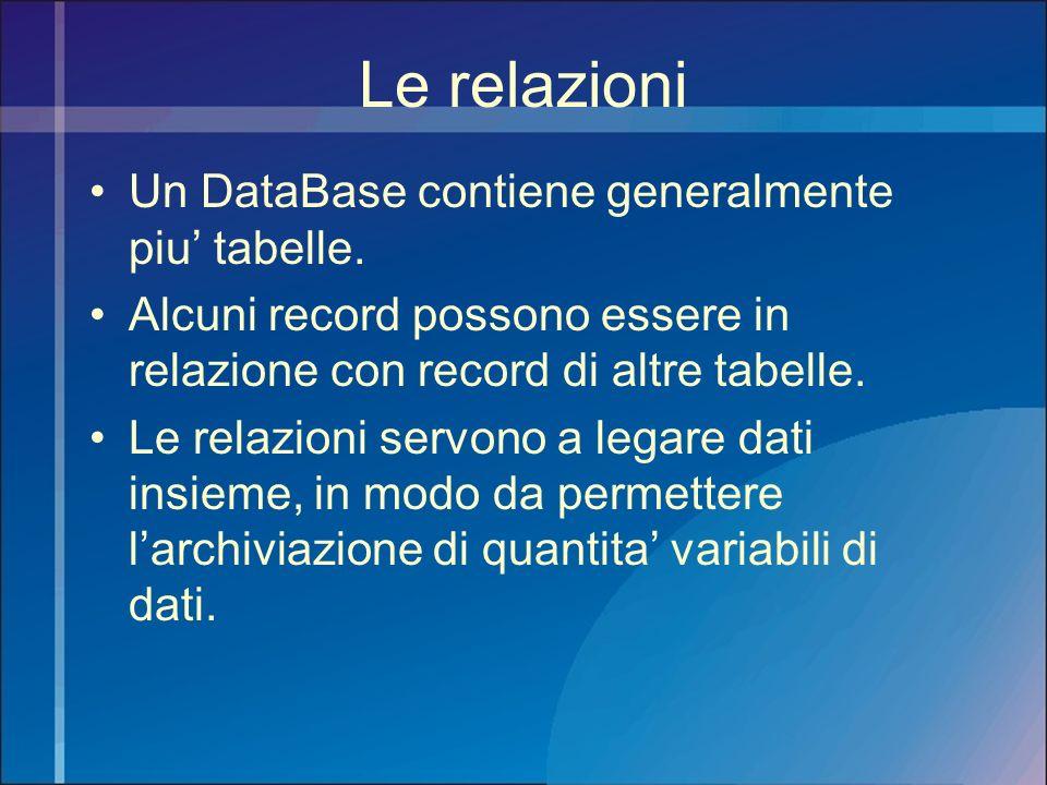 Le relazioni Un DataBase contiene generalmente piu tabelle. Alcuni record possono essere in relazione con record di altre tabelle. Le relazioni servon