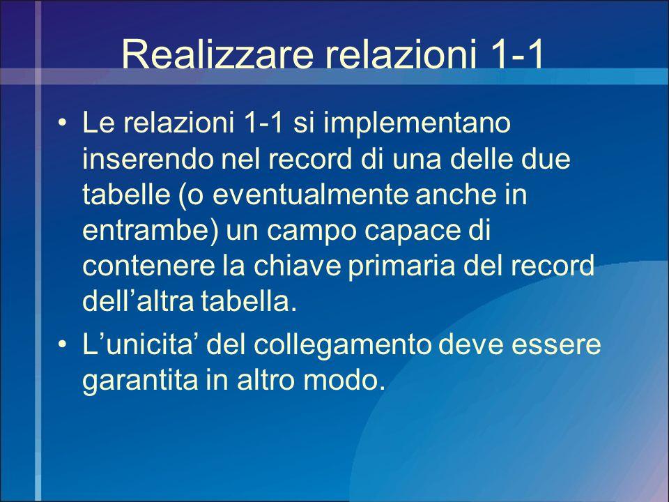 Realizzare relazioni 1-1 Le relazioni 1-1 si implementano inserendo nel record di una delle due tabelle (o eventualmente anche in entrambe) un campo c