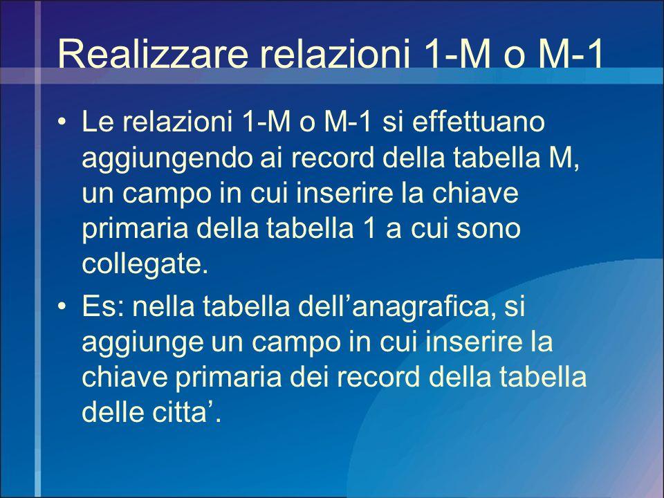 Realizzare relazioni 1-M o M-1 Le relazioni 1-M o M-1 si effettuano aggiungendo ai record della tabella M, un campo in cui inserire la chiave primaria
