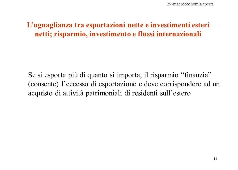 29-macroeconomia aperta 11 Luguaglianza tra esportazioni nette e investimenti esteri netti; risparmio, investimento e flussi internazionali Se si espo