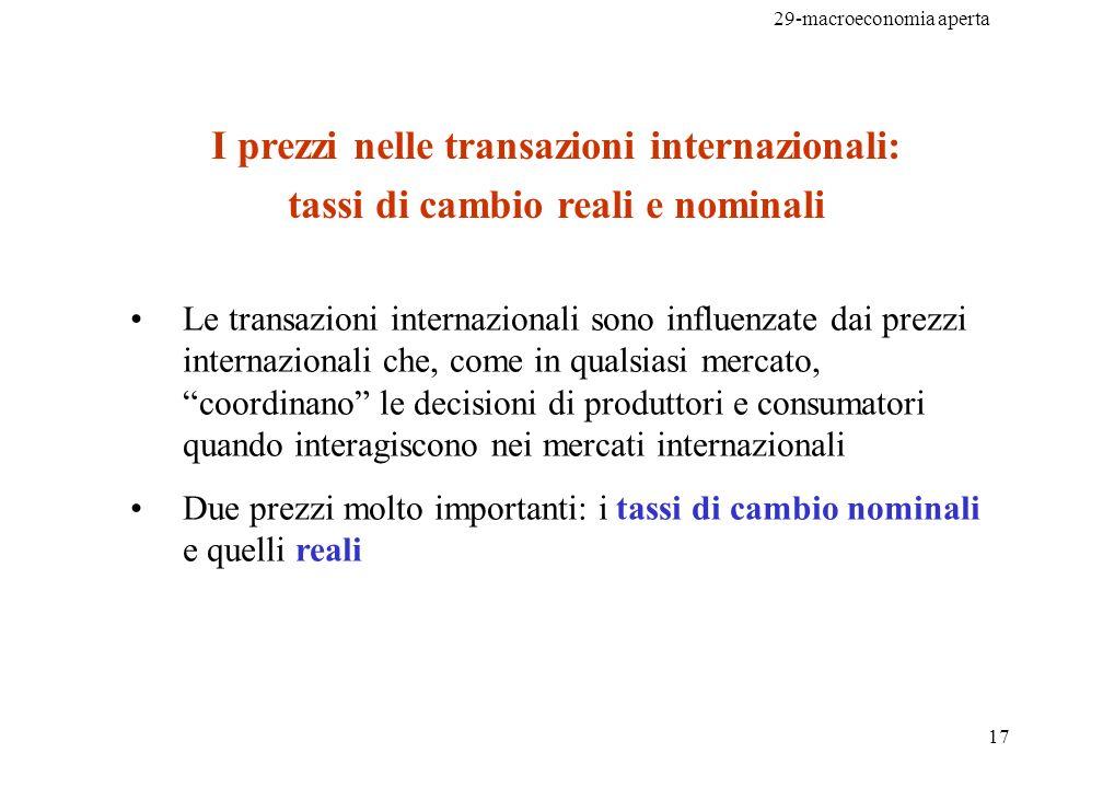 29-macroeconomia aperta 17 I prezzi nelle transazioni internazionali: tassi di cambio reali e nominali Le transazioni internazionali sono influenzate