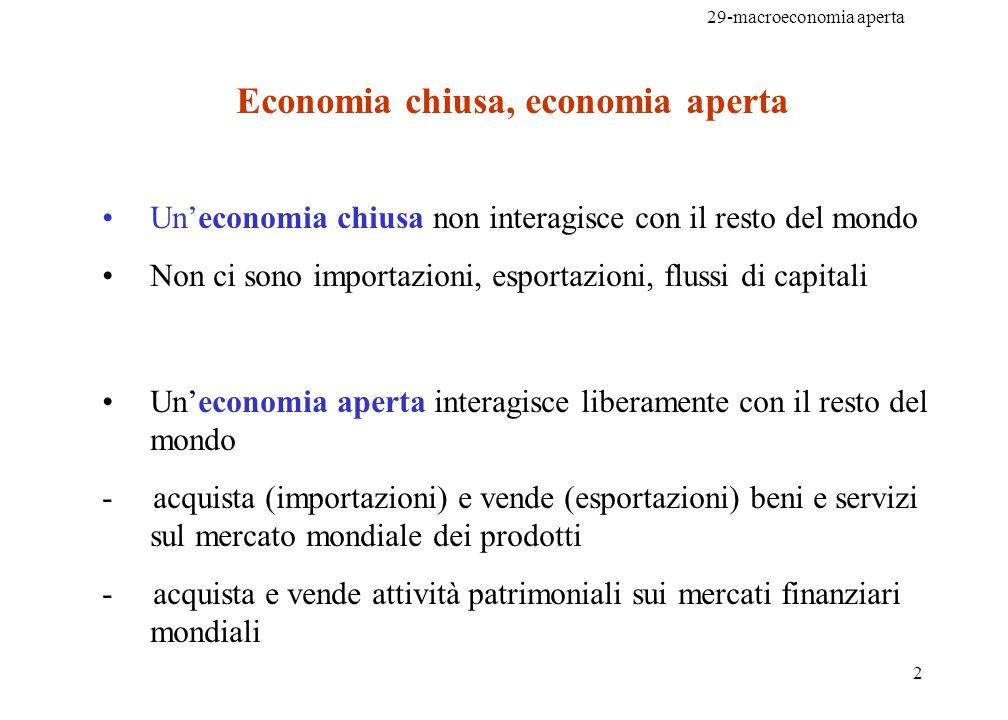29-macroeconomia aperta 2 Economia chiusa, economia aperta Uneconomia chiusa non interagisce con il resto del mondo Non ci sono importazioni, esportaz