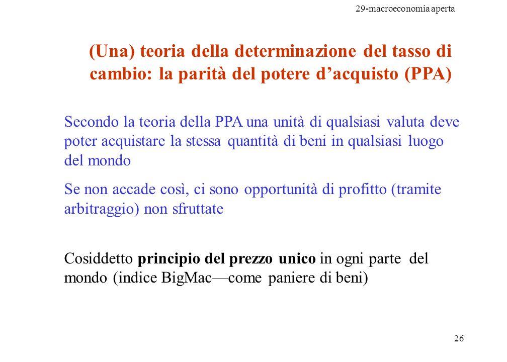29-macroeconomia aperta 26 (Una) teoria della determinazione del tasso di cambio: la parità del potere dacquisto (PPA) Secondo la teoria della PPA una