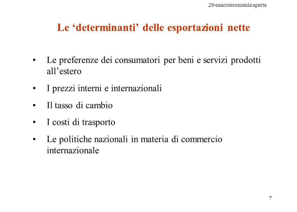 29-macroeconomia aperta 7 Le determinanti delle esportazioni nette Le preferenze dei consumatori per beni e servizi prodotti allestero I prezzi intern